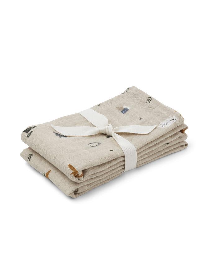 Liewood   lewis muslin cloth   2 pack   artic mix