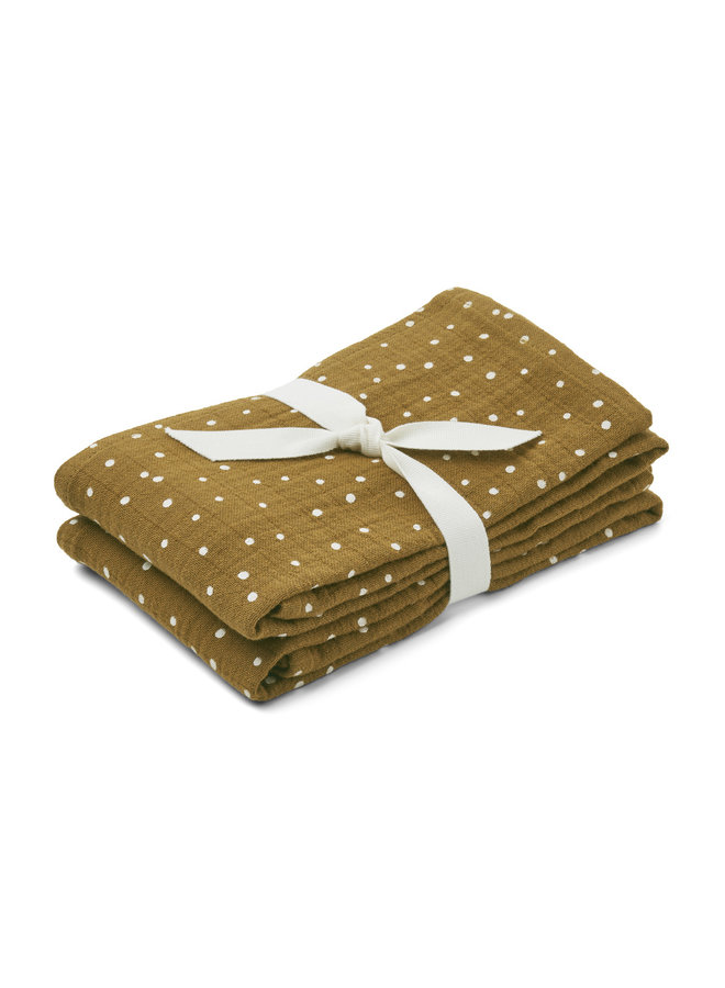 Liewood | lewis muslin cloth | 2 pack | confetti olive