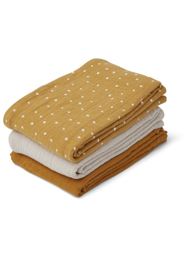 Liewood | line muslin cloth | 3 pack | confetti yellow mellow mix