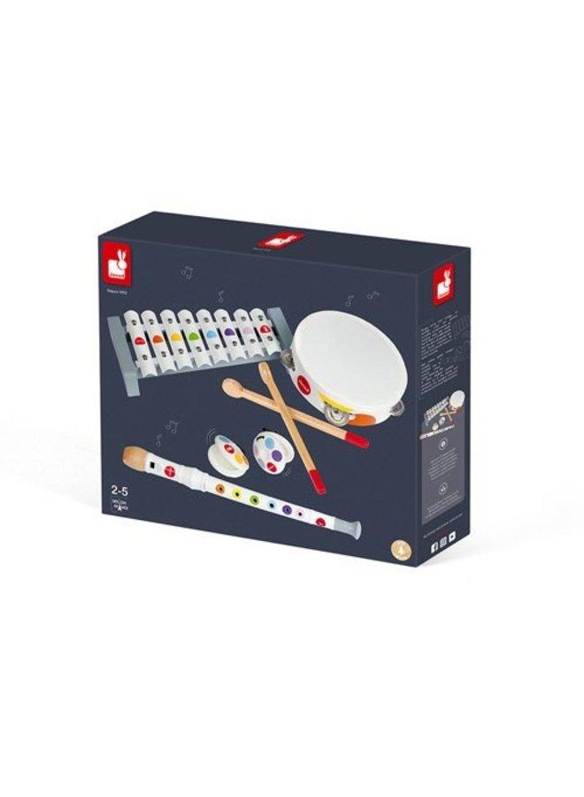 Janod | confetti | set muziekinstrumenten wit