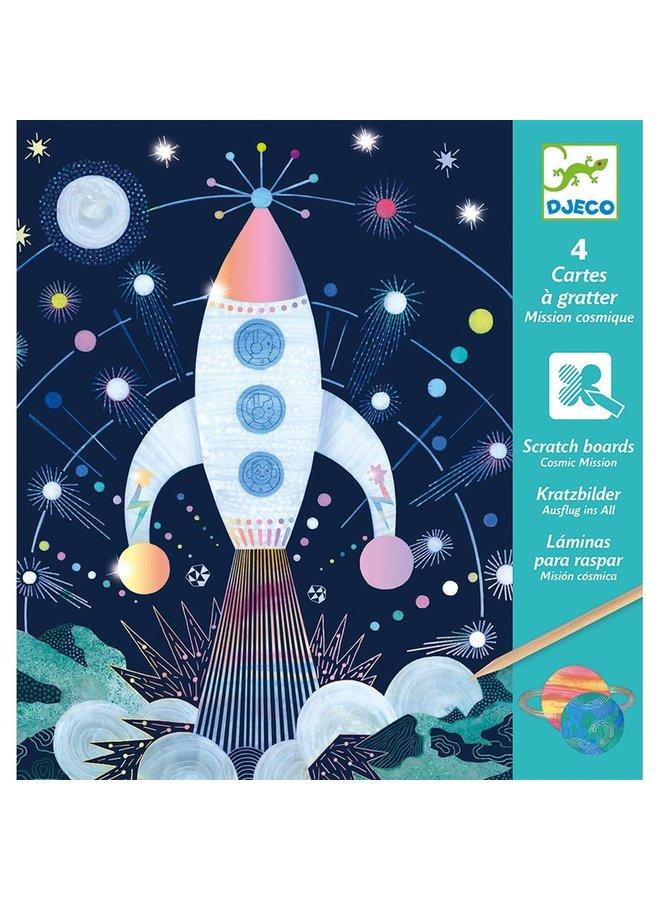 Djeco   knutselpakket   kraskaarten ruimtevaart