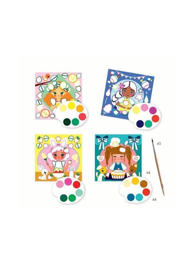 Djeco   knutselpakket   kaarten schilderen snacktime
