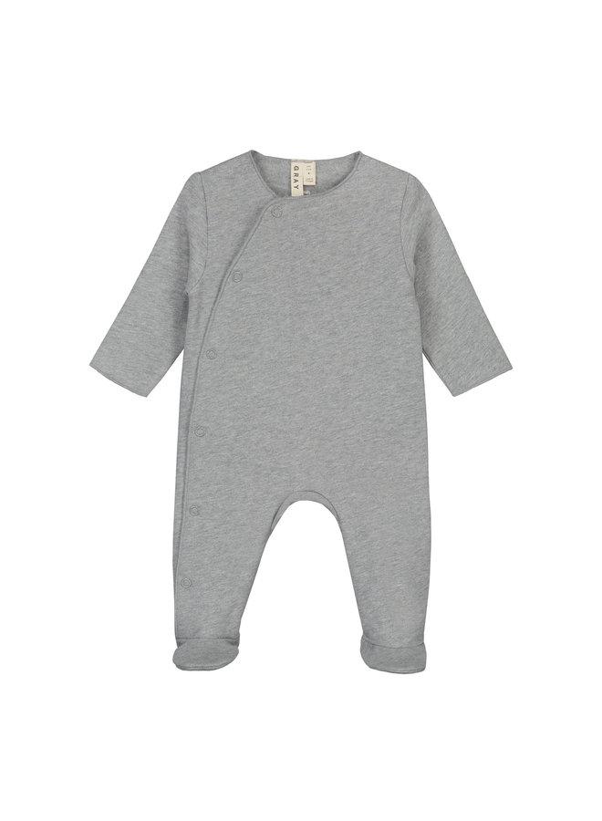Gray Label | newborn suit with snaps | grey melange
