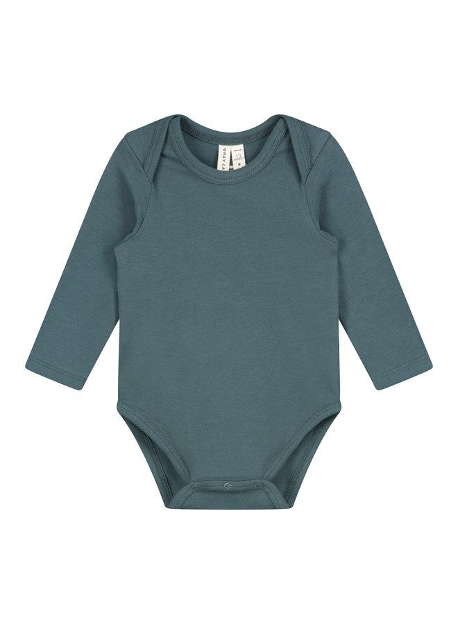 Gray Label | baby l/s onesie | blue/grey