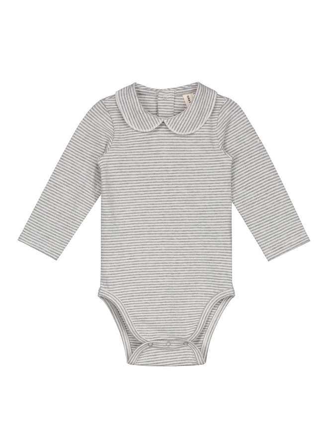 Gray Label | baby collar onesie | grey melange/cream