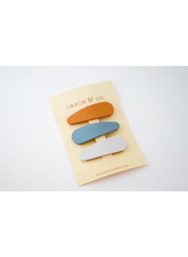 Grech & Co | haarspeldjes | set van 3 | golden, light blue, buff