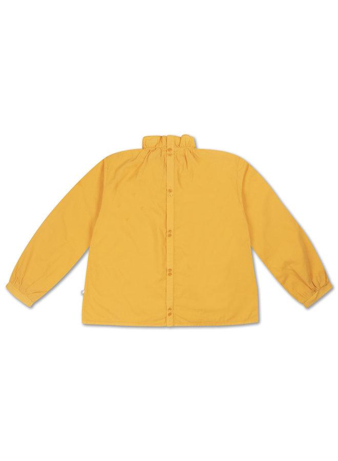 Repose AMS   ruffle blouse   warm custard yellow