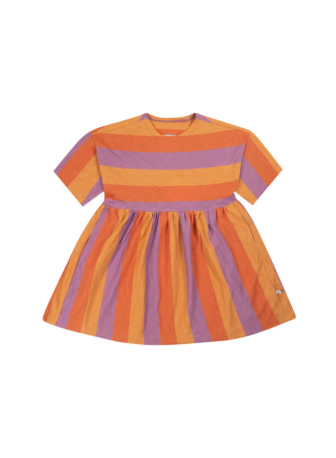 Repose AMS | simple dress | peachy lavender block stripe