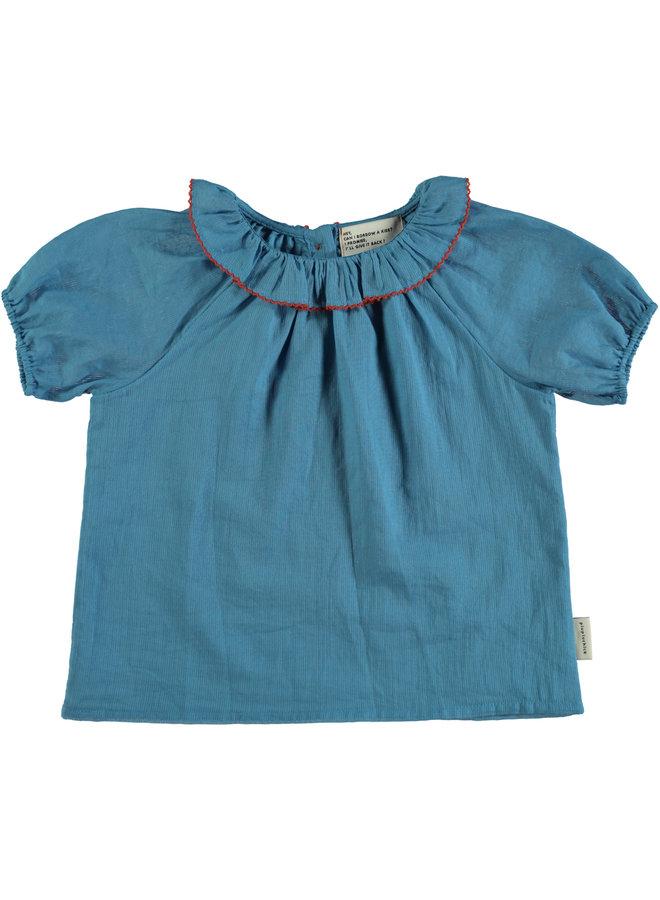 Piupiuchick | shirt w/ round fringe collar | deep blue
