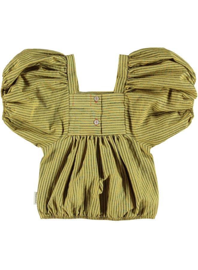 Piupiuchick | top w/ ballon sleeves | yellow w/ dark grey stripes