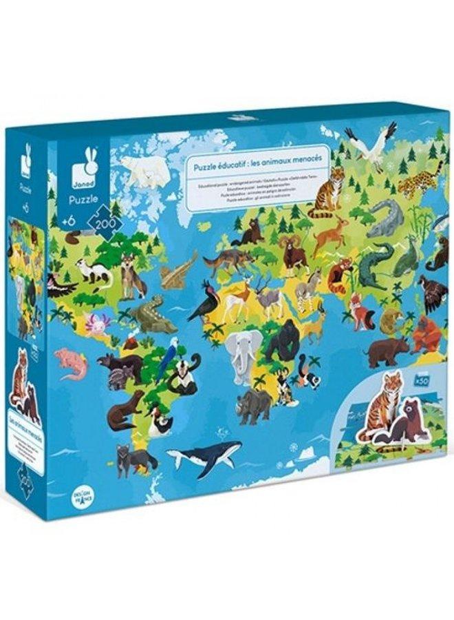 Janod | educatieve puzzel | bedreigde diersoorten | 200 stukjes