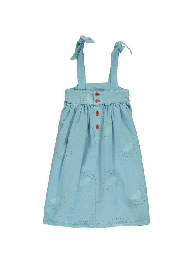 "Piupiuchick | long dress w/ pockets | light blue w/ ""festival"" all over"
