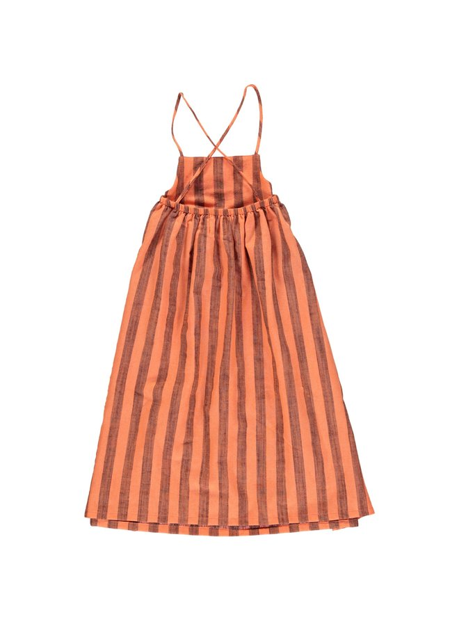 Piupiuchick | long balloon dress | orangeade w/ stripes