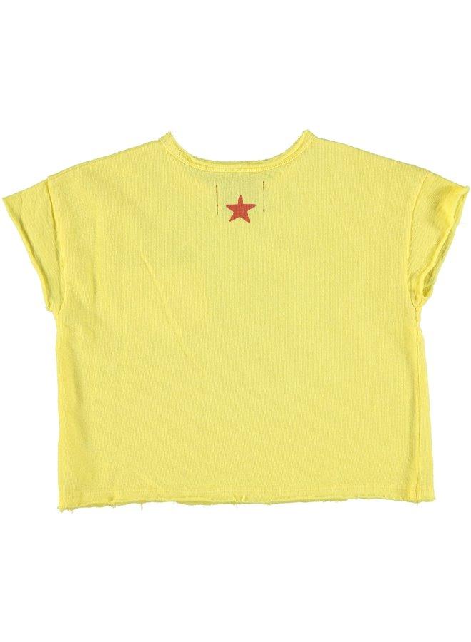 Piupiuchick | t-shirt | yellow w/ garnet & black print
