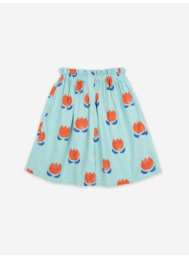 Bobo Choses | chocolate flowers all over button midi skirt