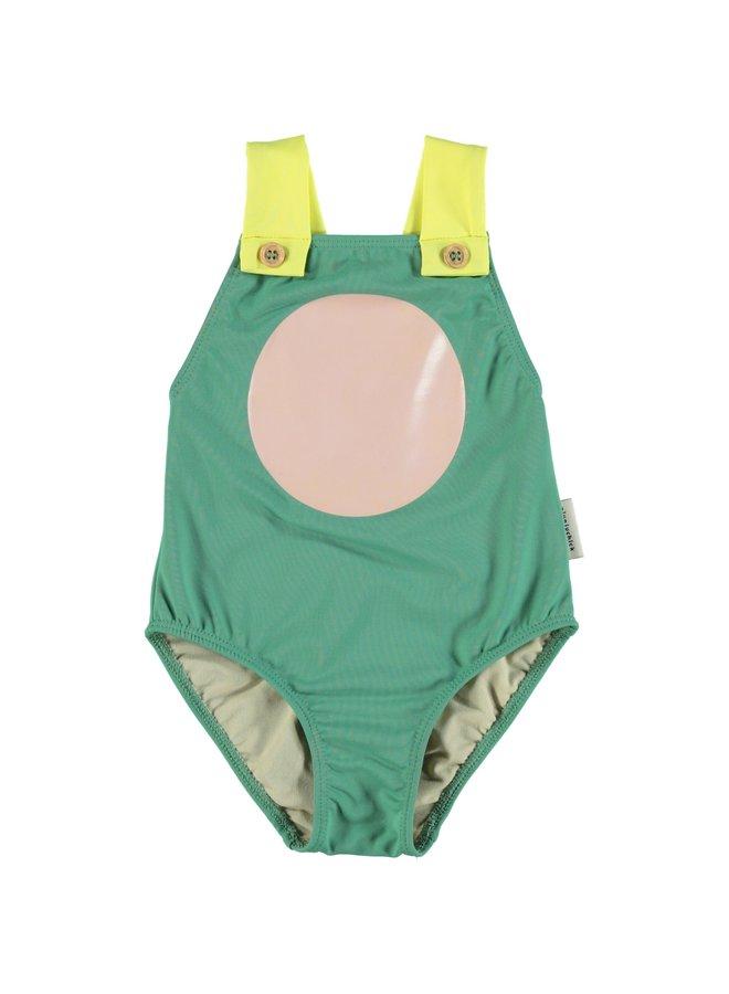 Piupiuchick | swimsuit w/ large straps | green, yellow & pink circle print