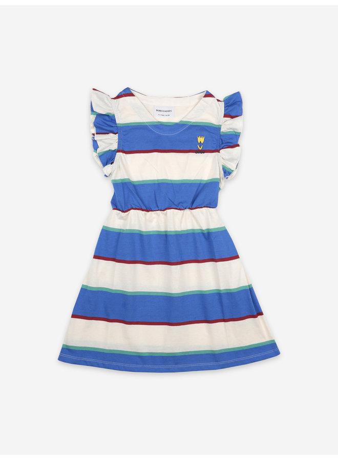 Bobo Choses | stripes jersey ruffle dress