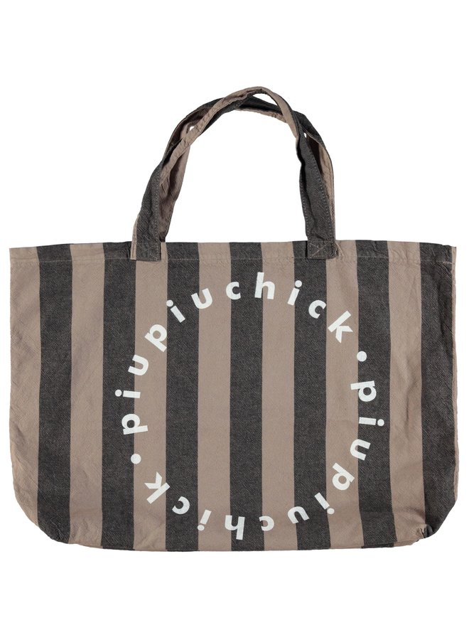 Piupiuchick | extra large logo bag | taupe w/ grey stripes