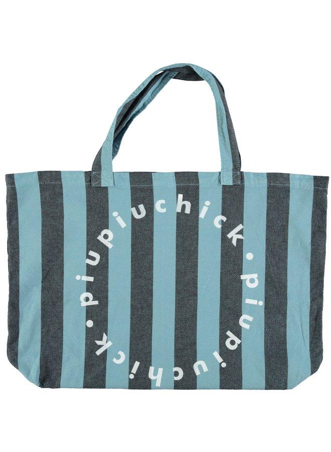 Piupiuchick | extra large logo bag | blue w/ grey stripes