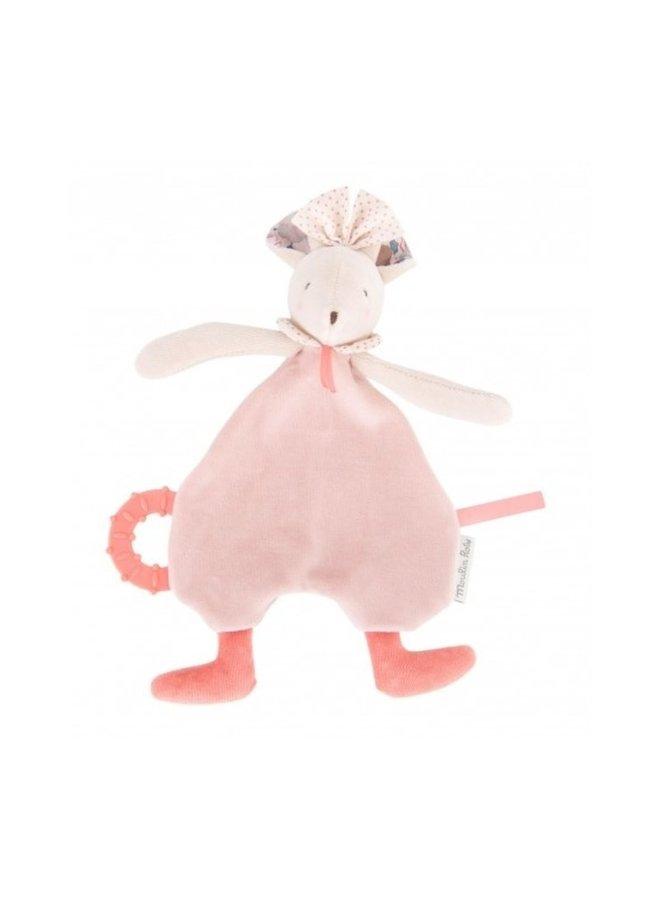 Moulin Roty | knuffeldoekje roze muis