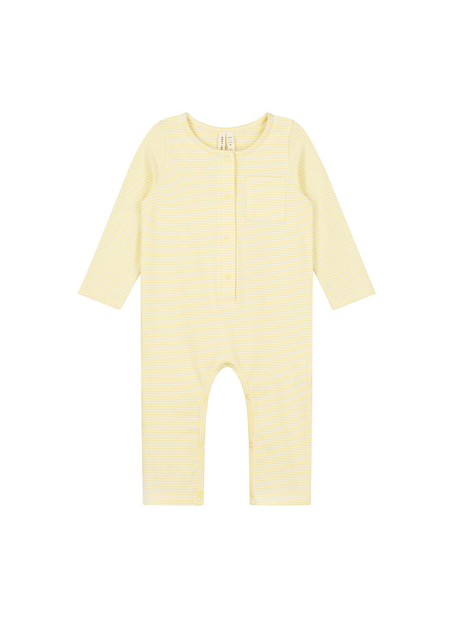Gray Label   baby l/s playsuit   mellow yellow/cream