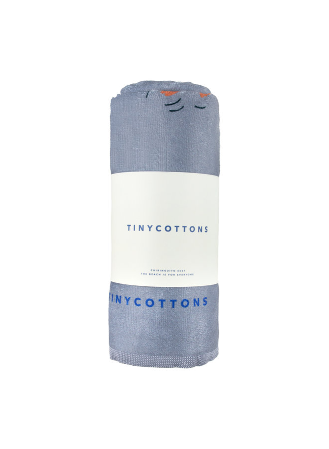 Tinycottons   doggy paddle towel   summer grey/iris blue