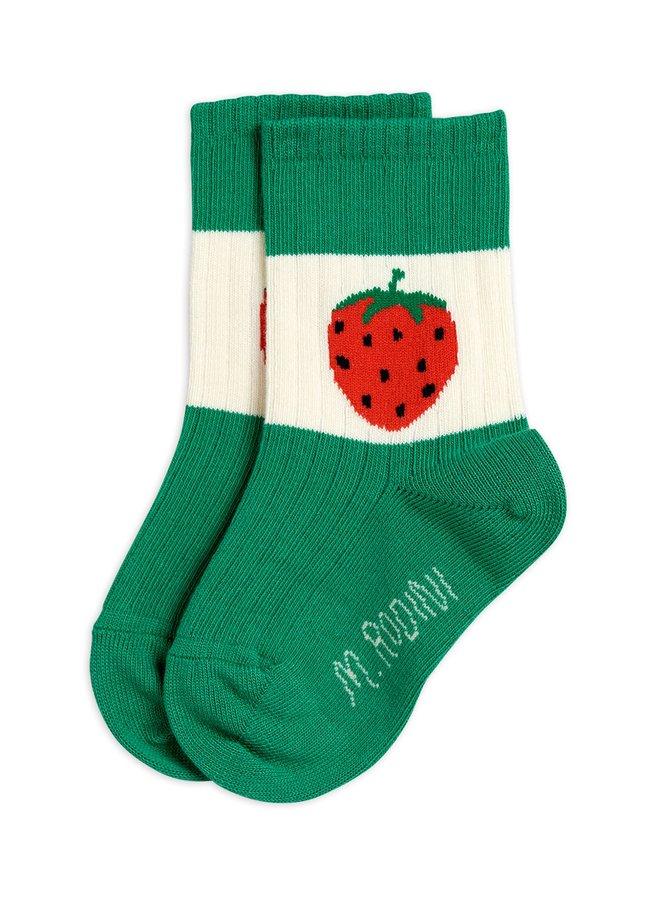 Mini Rodini | strawberry ribbed socks | green