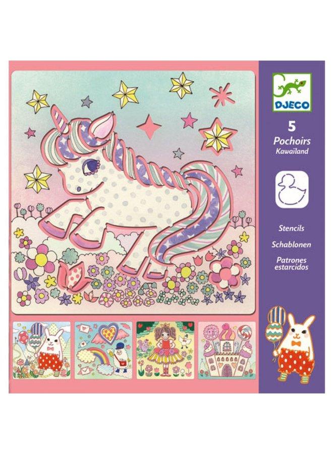 Djeco   tekensjablonen   unicorns