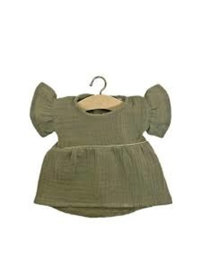 Minikane | poppenkleertjes | olijfgroene jurk