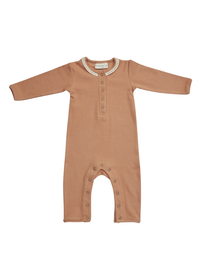 Blossom Kids | playsuit with lace | deep toffee