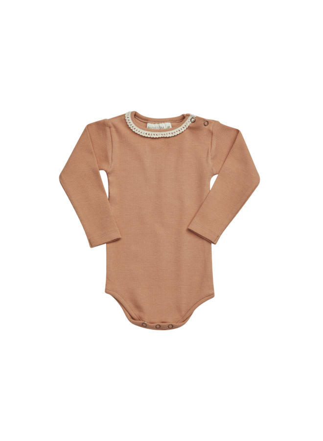 Blossom Kids | body long sleeve with lace | deep toffee