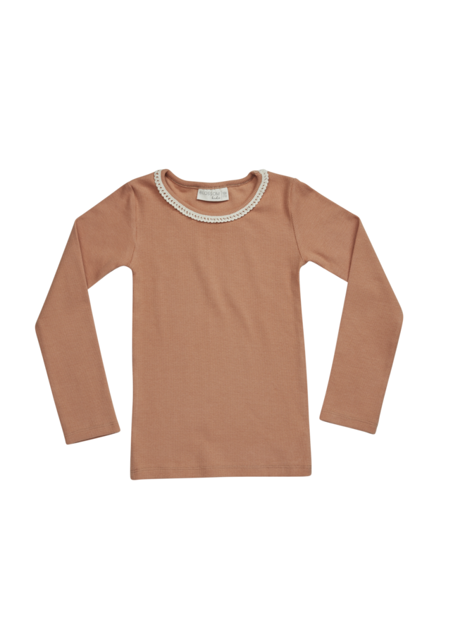 Blossom Kids | long sleeve with lace | deep toffee