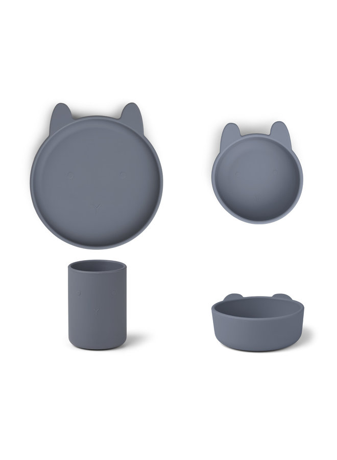 Liewood | cyrus silicone junior set | rabbit blue wave