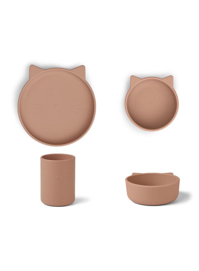 Liewood | cyrus silicone junior set | cat dark rose