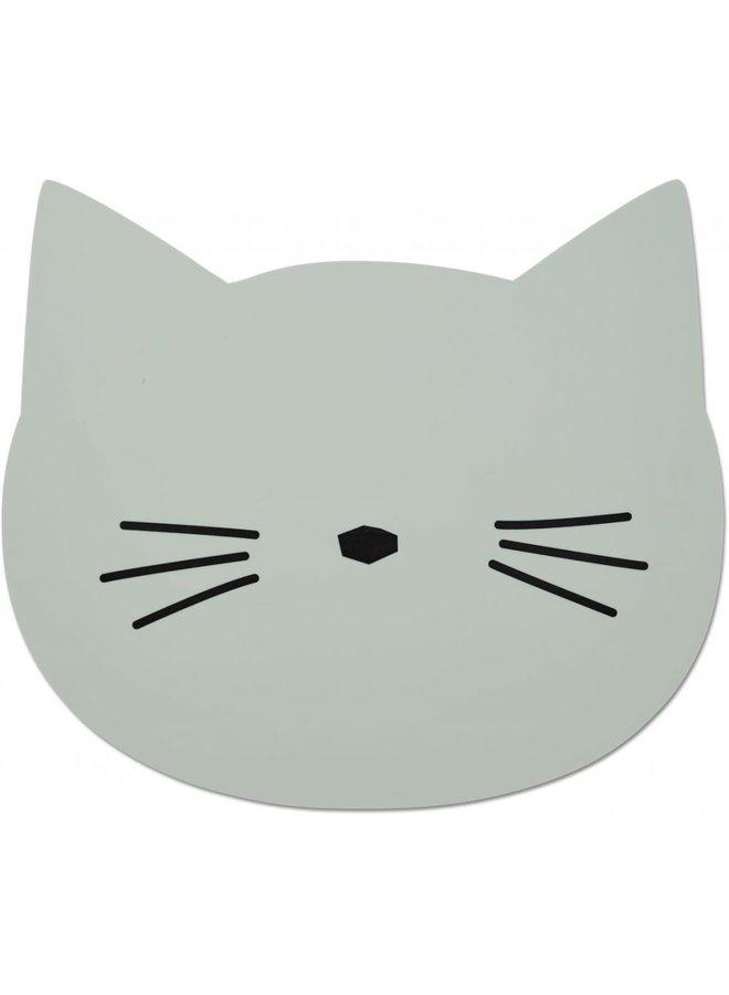 Liewood   aura placemat   cat dusty mint