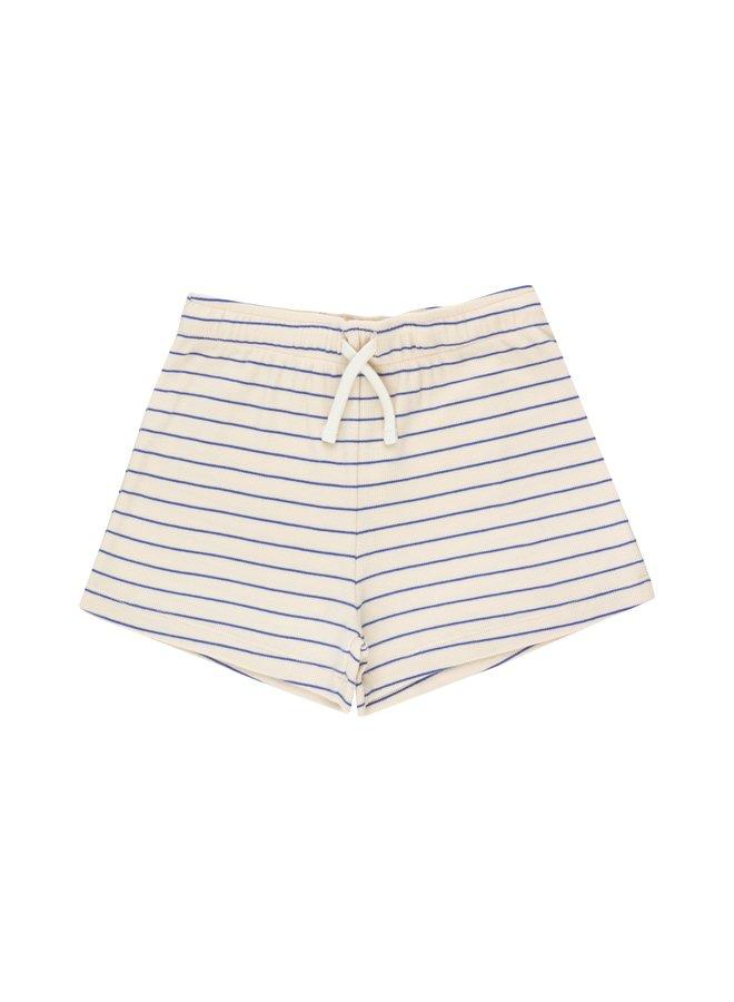 Tinycottons | stripes short | light cream/iris blue
