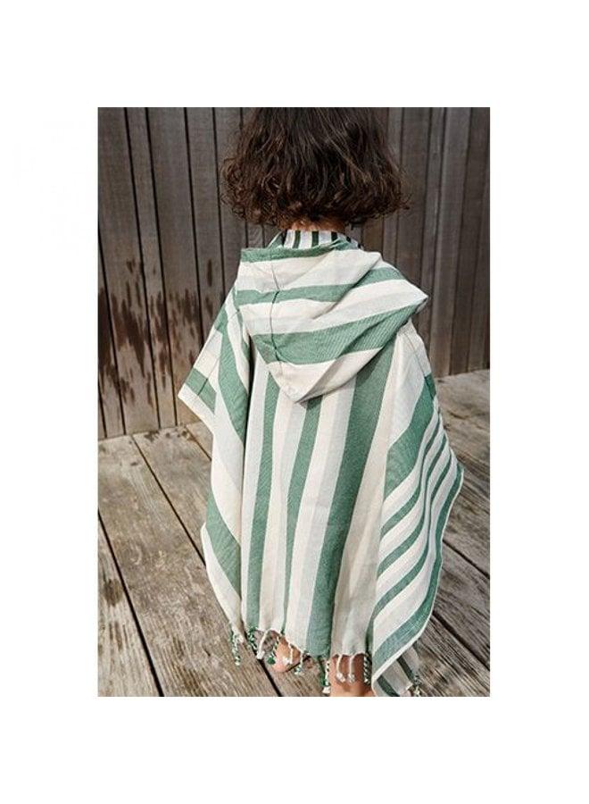 Liewood   roomie poncho   garden green/sandy/dove blue