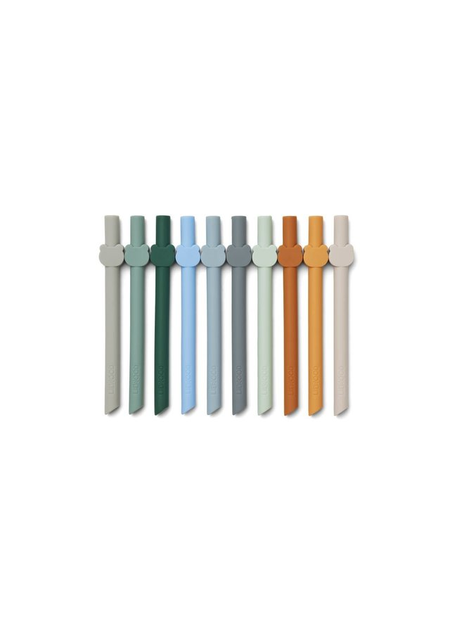 Liewood   badu straw   10 pack   blue wave multi mix
