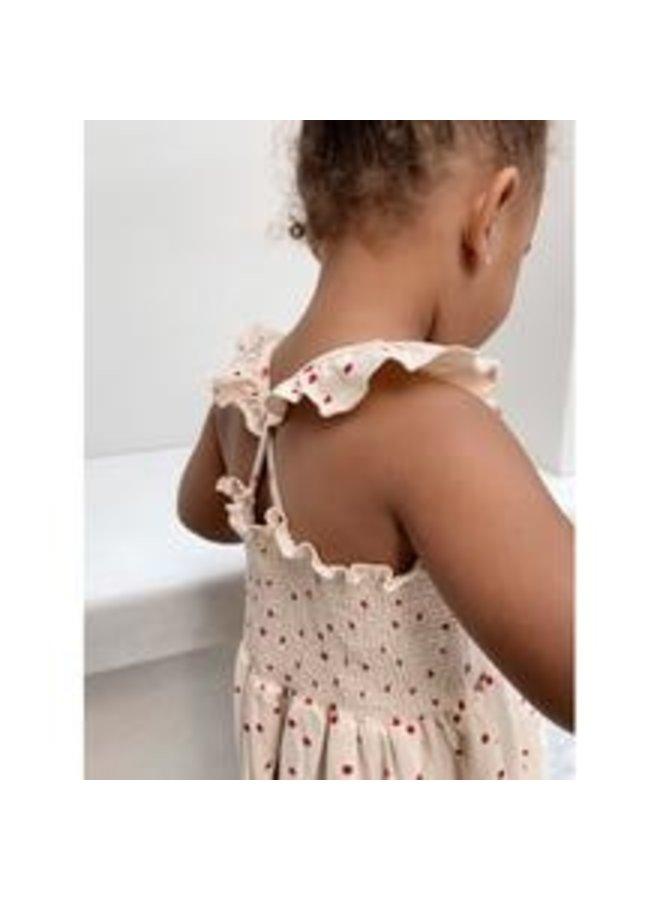 Konges slojd | reya strap dress | raspberry/red dot