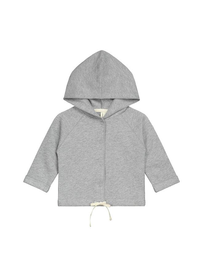 Gray Label | baby hooded cardigan | grey melange