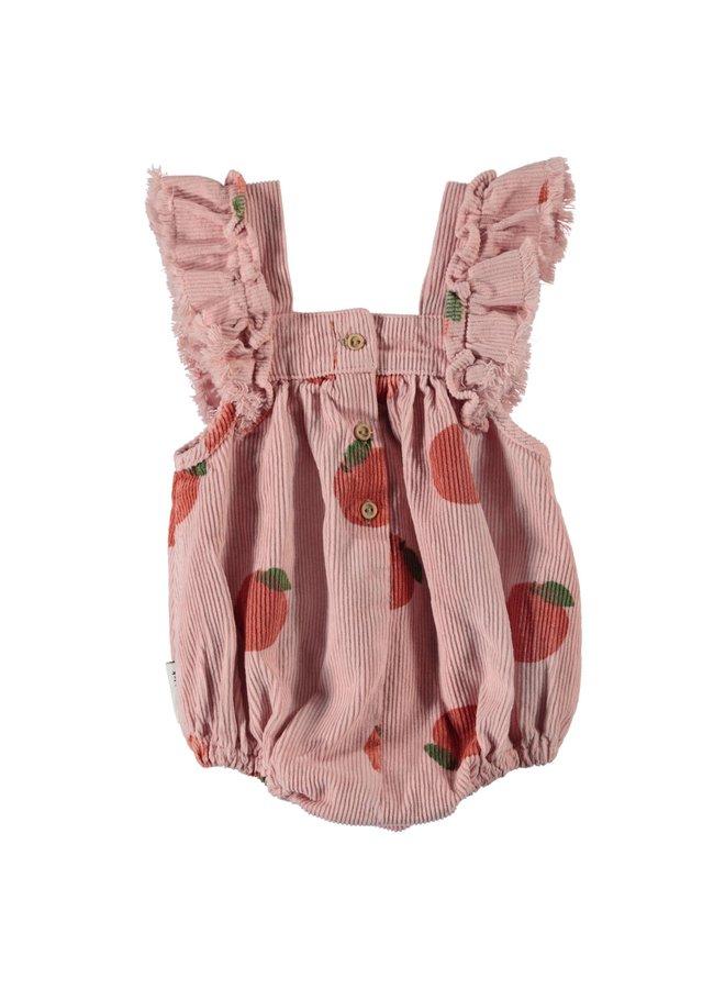 Piupiuchick | baby romper w/frills | light pink w/allover