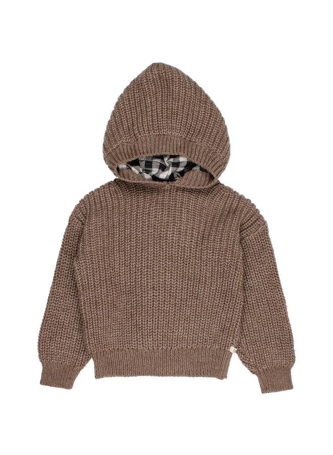 Buho | hood knit jumper | wood