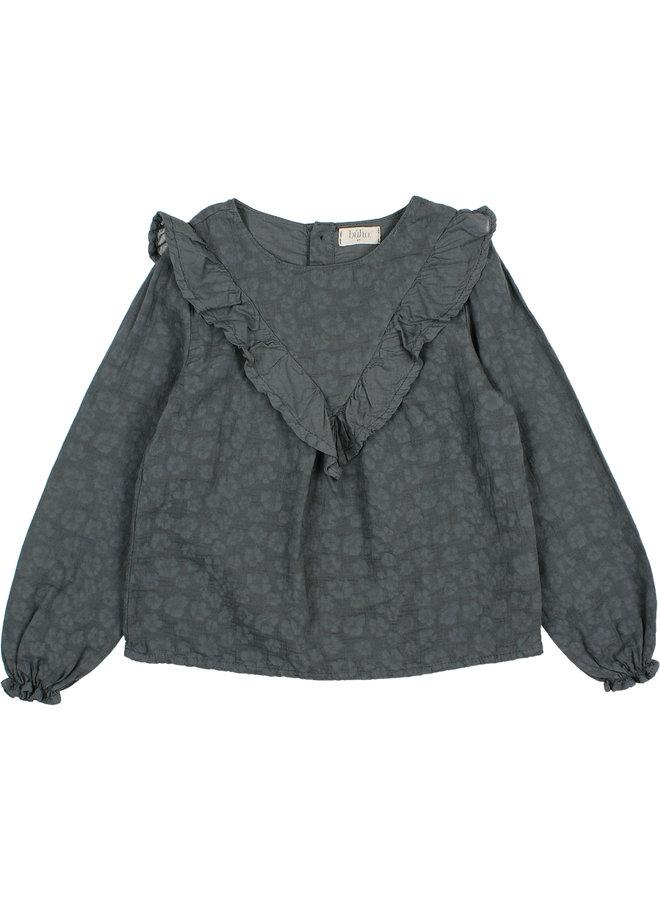Buho | floral jacquard blouse | antracite
