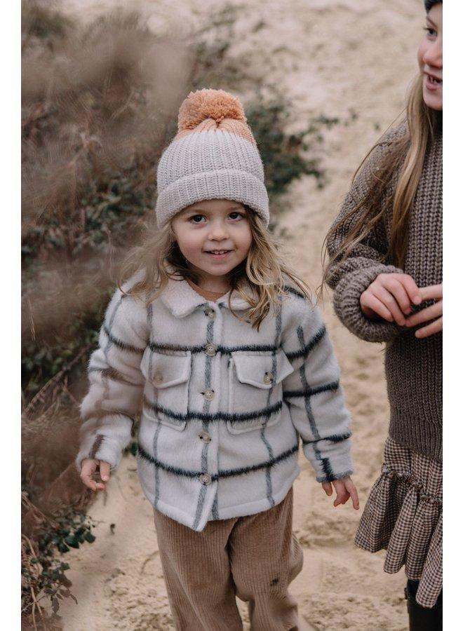 Buho | pom pom soft knit hat | bicolor natural