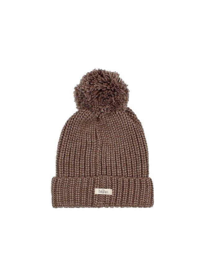 Buho   pom pom soft knit hat   wood
