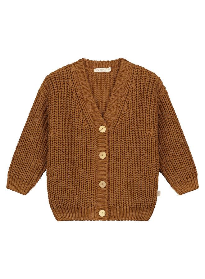 Yuki Kidswear | chunky knitted cardigan | rust
