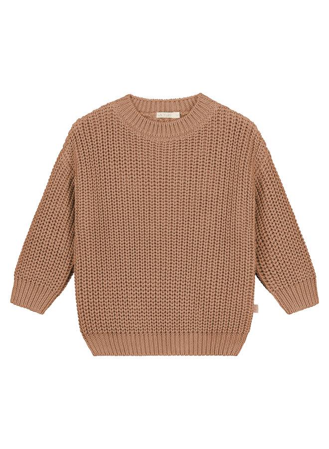 Yuki Kidswear | chunky knitted sweater | coral