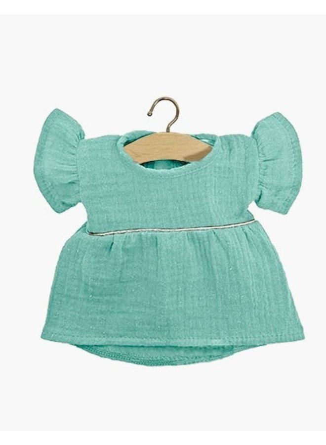 Minikane   poppenkleertjes   turquoise jurkje