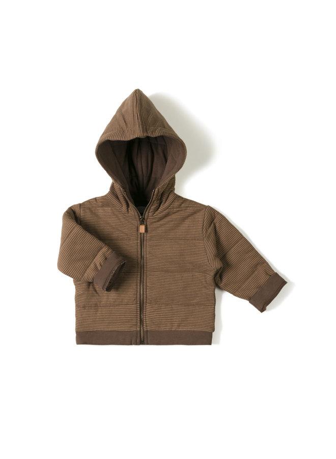 Nixnut | baby jacket | stripe toffee