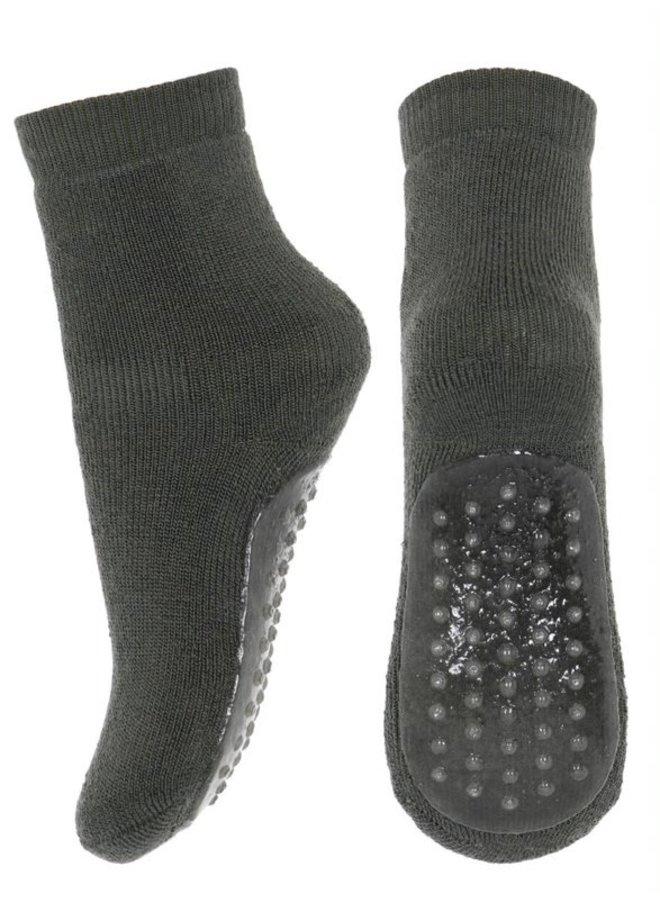 MP Denmark   wool/cotton socks w.anti-slip   dusty ivy